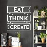 Citation créative Mangez Pensez Créez Phrase Stickers Muraux Amovible Décor Pour...