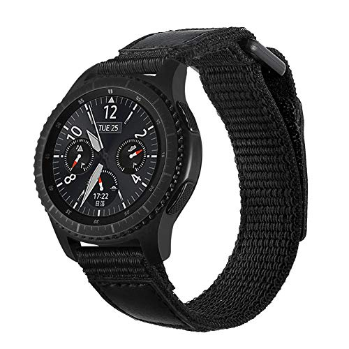 AUTOECHO Band for Samsung Gear S3 Replacement Smart Watch Nylon Canvas Black...