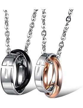 Jewow Schmuck Edelstahl Verliebte Paar Halskette Anhänger Gravur Kreuz für Sie und Ihn