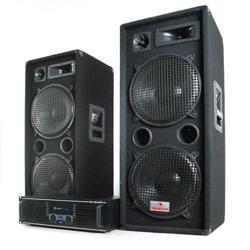 Elektronik-Star DJ PA Komplettset Phuket Pulsar 2000W DJ-Anlage aus 1000W Lautsprecher-Boxen & Verstärker (3-Wege Boxen, 2 x 500W RMS, für 400 Personen) schwarz