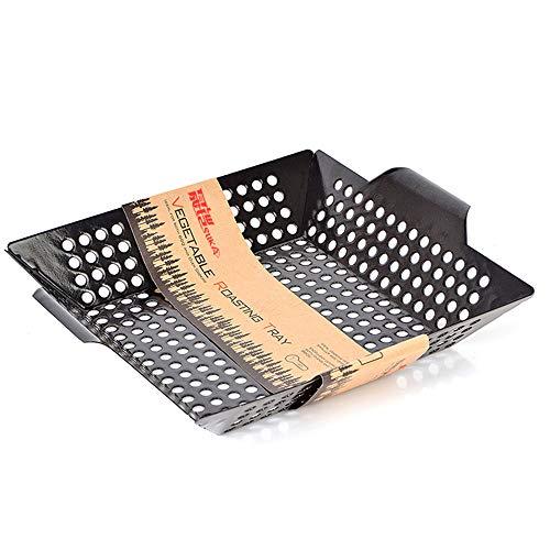 E&N LIFE Grillkorb-Großer Gitterkorb-Non-Stick BBQ Grill Tragbares Grillzubehör-Set Grillpfanne für Grillgemüse-Meeresfrüchte-Fleisch (Schwarz) (Non-stick-grill-wok)