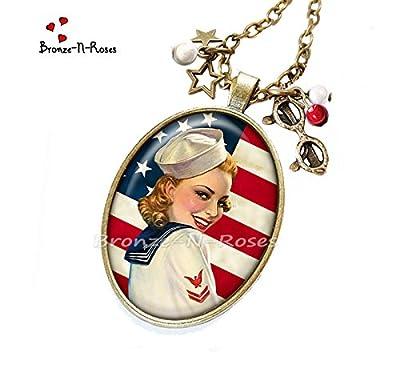 """Sautoir """" I love America """" cabochon rouge drapeau États-Unis Pin-up verre"""