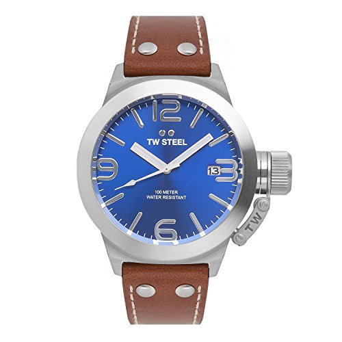 TW-Steel-Unisex-Quartz-Watch-with-Blue-Dial-Analogue-Display-and-Brown-Leather-Strap-TW943
