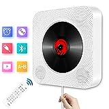 CD Player Bluetooth Wandmontage Tragbarer CD Player eingebaute HiFi-Lautsprecher für Kinder Studenten, CD-Radio die Heim-Audio-Boombox mit Fernbedienung, USB mp3 Kopfhöreranschluss, AUX-Eingang