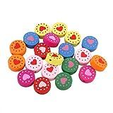 Perlin Lot de 20 Perles en Bois pour Enfant Motif Fleurs avec cœur et Inscription en...