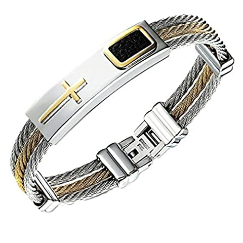 GYJUN Homme Bracelets Rigides Mode Pierre Gothique Acier inoxydable Forme Ronde Bijoux , white