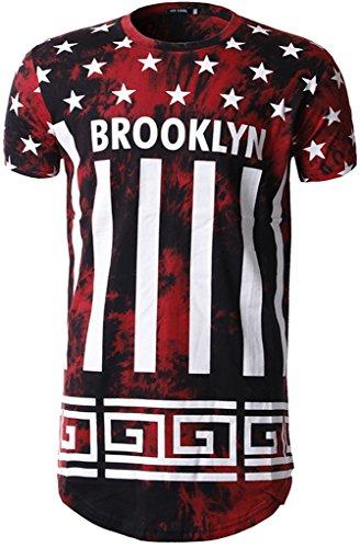Whatlees Herren Hip Hop Urban Basic Batik Design Lang Geschnittenes T-Shirt Weiches Jersey mit Brooklyn Stern Streifen Bahn Druckmuster B429-Red-L