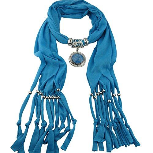 ESHOO Femmes Foulard Pendentif Bijoux Vintage Collier Tassel Fringe Cravates D