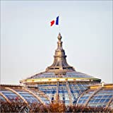 Posterlounge Alu Dibond 120 x 120 cm: French State Flag on Great Palace in Paris di Editors Choice
