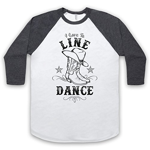I Love To Line Dance Country Barn Dance 3/4 Hulse Retro Baseball T-Shirt Weis & Dunkelgrau