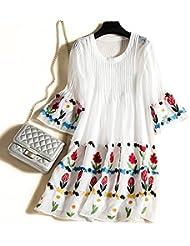 XuankuIndustria Pesada Mujer Vestidos Bordados 362 M Blanco