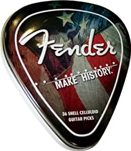 Fender Classic Celluloid Boîte Metal 36 Médiators Make History Pick Tin