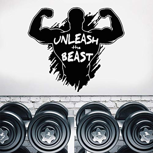 o Unleash Beast Fitness Motivation Vinyl Aufkleber Home Cross Fit Sport Poster Inspirierende Wandbild 65X57 Cm ()