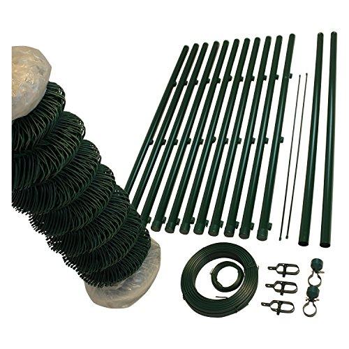 *TOP MULTI Maschendrahtzaun Set Gartenzaun PVC-beschichtet grün – versandkostenfrei (D) (150cm Höhe x 15m Länge)*