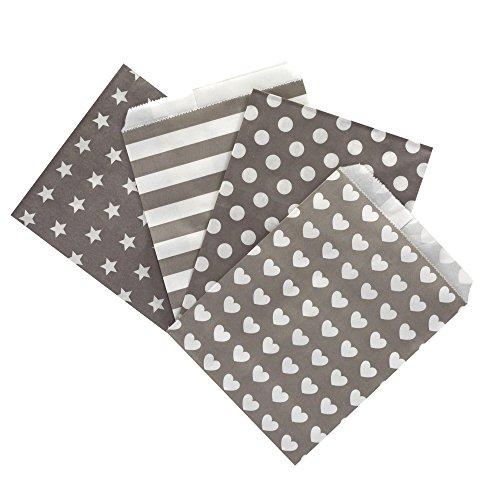 (100 Frau Wundervoll Papiertüten Mix taupe / helles grau, 4 Designs zu je 25 Stück / Geschenktüten / Candy Paper Bags)
