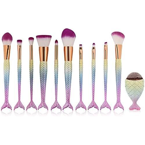 maquillaje unicornio kawaii Kit de cepillos de maquillaje cosméticos, URAQT 11 piezas Set de cepillos de maquillaje de arco iris de sirena cepillo de contorno cepillo de polvo cepillo de ojos cepillo de labios