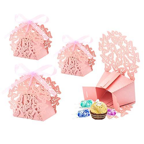 Derbway 30pz scatoline portaconfetti scatole bomboniere scatole portaconfetti con 30x nastri per anniversario di matrimonio battesimo compleanno (rosa)