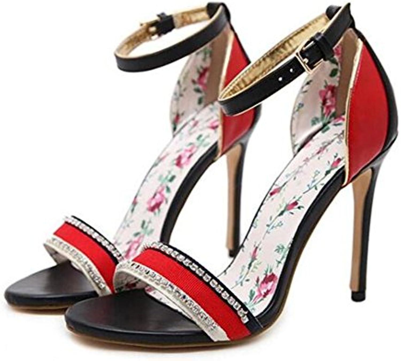 XIE Zapatos de mujer Diamante de imitación Fiesta Club Vestido de tacón de aguja Sandalias Multicolor Bombas tamaño...