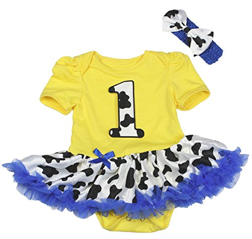 Cowboy Dress 1st Yellow Cotton Bodysuit Cow Tutu Romper Girl Clothing Nb-18m (6-12 Monats)