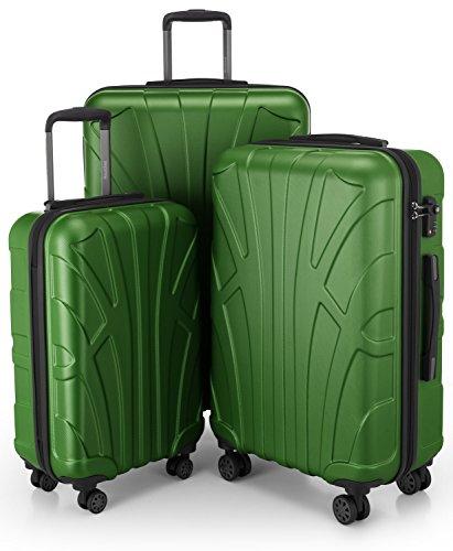 SUITLINE - 3er Koffer-Set Trolley-Set Rollkoffer Hartschalen-Koffer Reisekoffer, TSA, (S, M & L), Koffer-Set, 76 cm, 210L, Grün