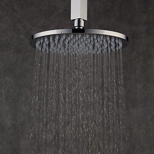 8 Zoll Regendusche,Duschkopf Regenbrause Brausekopf aus Messing mit Anti-Kalk-Düsen poliert Spiegeleffekt hochglänzend (Duschkopf Messing Poliert)