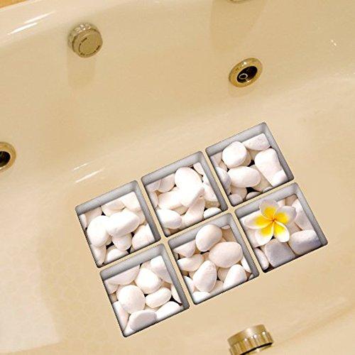 B & Y Elegante antiscivolo per vasca da bagno Tatuaggi Vasca appliques Adesivi Decalcomanie pietra bianca e fiori - Pro Gel Grip