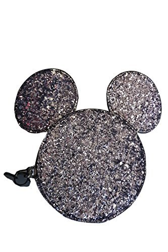 Disney Minnie Mouse Black glitter money change coin zip around purse