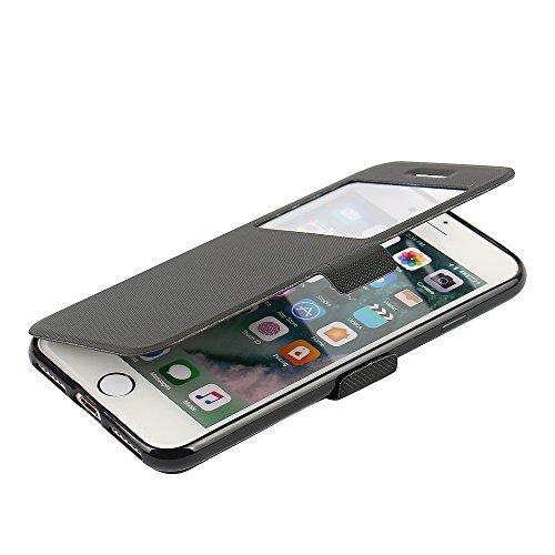 Cover iPhone 6s, Cover iPhone 6, MTRONX Custodia Case Doppio Finestra Vista Ultra Folio Flip Stile Libro PU Pelle Morbido TPU Paraurti con Magnetic Closure e Mensola Supporto per Apple iPhone 6s, iPho Nero
