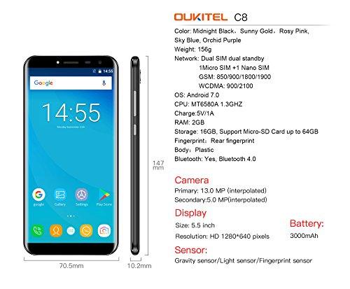 OUKITEL C8 - 5 5  3G Smartphone Libres  18  9 Pantalla de Arco 2 5D  Android 7 0 Quad Core 2GB 16GB  Sensor de Huella Dactilar  C  mara 13MP 5MP  Dobl