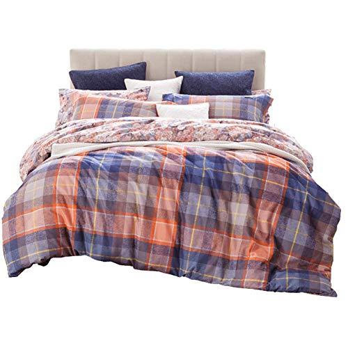HMEIGUI Bettbezug-Sets Doppel-Bettwäsche-Ultra-Weiche Reine Baumwolle Reversible Flower Plaid Bettwäsche Tröster Set voll, Reißverschluss 4 Stück,Blue_Queen Size -