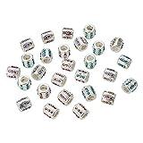 NBEADS 50 Cuentas de aleación de Diamantes de imitación Europeas, Agujero Grande, Abalorios de Metal Plateado para Pulseras de Cadena de Serpiente, sin Plomo y sin cadmio, Color Mezclado
