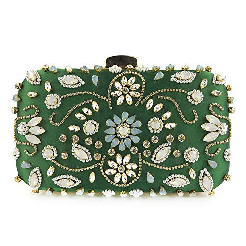 smile-coco Abendtaschen Strass Perlen Perlen Hochzeit Clutch Damen Geldbörse Handtaschen Geldbörse Abendtasche Clutch, Design D Green - Größe: Einheitsgröße