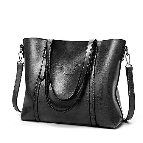 EssVita Sacs à main Femme sacs à bandoulière PU cuir Poignée supérieure Cartable Messager Sac Noir