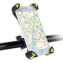Soporte Móvil Bicicleta Montaña, SKYEE Ultra Estable 4 Esquinas Cerradas Silicona Antideslizante Rotación de 360 Grados Universal para Manillar de la Bici MTB y Motos para iPhone 7, iPhone 6, BQ, Huawei p9, GPS y otros Smartphone - Negro/Verde