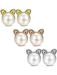 BESTEEL 3Pares Pendientes Gato para Mujer Niña Lindo Pendientes Perlas de Imitación Aretes Cartilago Oreja Piercing