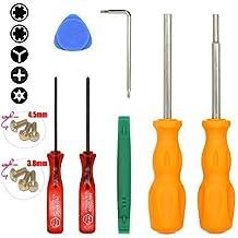 Childhood Juego de herramientas de bits de juego de destornilladores de seguridad de 3,8 mm 4.5 mm con 6 piezas de tornillos de seguridad para cartuchos de consolas de juego