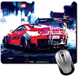 Crazyink Red Sport Car Bokeh Premium Printed Designer Mouse Pad | 22Cm By 18 Cm | Gaming Mouse Pad | Hd Printing | Ultimate Grip | Waterproof Coating | Game Lovers | Perfect For Home & Office | Anti Skid| Slim Light Weight.