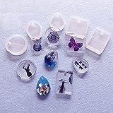 Primi tipos moldes de silicona moldes DIY Jewelry Making herramientas con orificio para colgar. Set