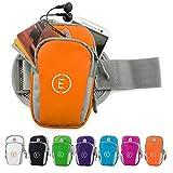 Echelon Line Premium Fitness Armband Handy Hülle Arm Jogging Tasche Rennen Workout Smartphone Laufen Sportarmband Schlüssel Halter für iPhone und Samsung (Orange)