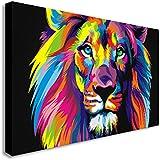 Impression sur toile murale, Lion en style Pop art abstrait, différentes tailles disponibles, Bois dense, A0 47X33inch