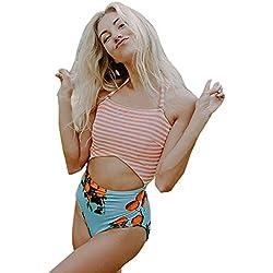KPILP 2019 Femme Maillot de Bain Sexy Bikini Femme Printemps et Eté Rayure+des Fruits Impression Femme Élégant Charmant Maillots de Bain 2 Pièces (Multicolore,FR-38/CN-L)