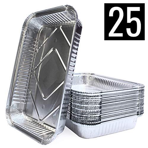 Mamatura XL-Aluminium-Tropfschalen | 25 Aluschalen| 32 x 22 cm, 2100 ml | groß, rechteckig, hitzebeständig