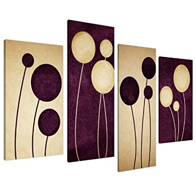 Large Plum Purple Cream Abstract Canvas Wall Pictures Prints Art 4124 - inexpensive UK canvas store.