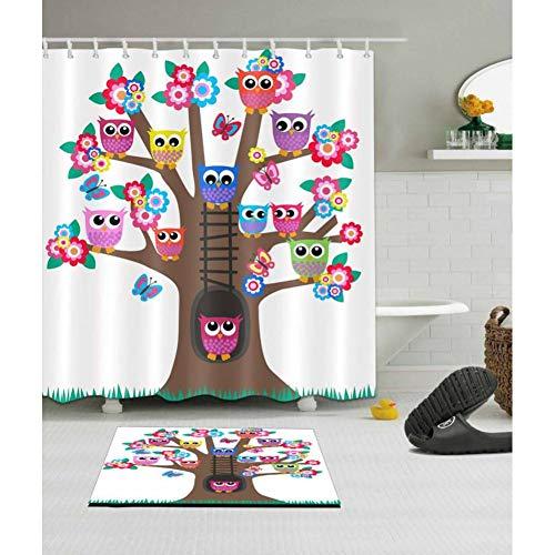 WZYMNYL Cartoon Lustige Vögel Baum Klaue Fuß Badewanne Weiß Duschvorhang Matte Set Wasserdicht Polyester Bad Stoff Für Kid Badewanne Dekor