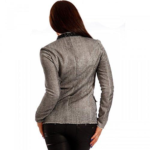 Damen Blazer mit funkelnden Pailletten Glamour Kurzjacke Vintage Look Grau