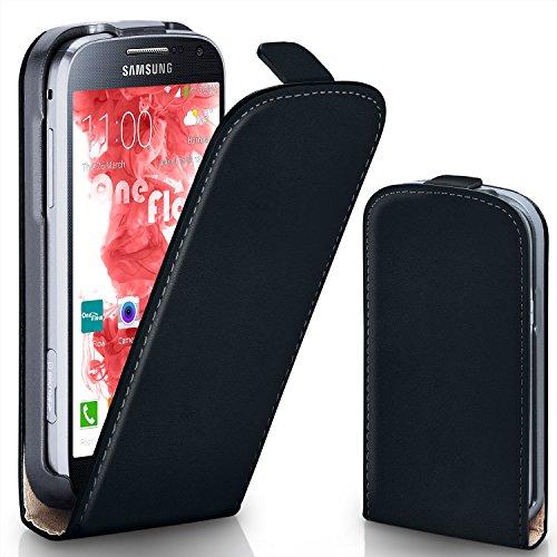 Samsung Galaxy S4 Mini Hülle Schwarz [OneFlow 360° Klapp-Hülle] Etui thin Handytasche Dünn Handyhülle für Samsung Galaxy S4 Mini Case Flip Cover Schutzhülle Kunst-Leder Tasche