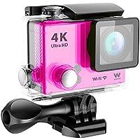 Woxter Sportcam 4K Pink - Cámara Deportiva Digital (Sumergible hasta 30m y Accesorios Múltiples para Deportes al Aire Libre, Salida HDMI, Ultra Definición 4K (3840x2160p), Vídeo Ultra HD a 25 fps y 1080p a 60 fps, Resolución 12 MP), color Rosa