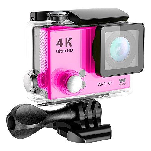 Woxter Sportcam 4K Pink - Cámara Deportiva Digital (Sumergible hasta 30m y...