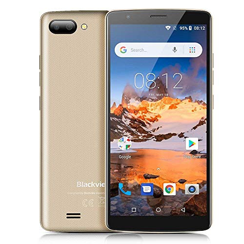 "Blackview Backview Günstiges Handy, A20 3G Dual SIM Smartphone Ohne Vertrag, 5.45"", Android Go, 1GB/8GB MTK6580 Quad-Core, 5.0MP+0.3MP Dual Back-Kamera, 3000mAh, GPS WiFi (Gold)"
