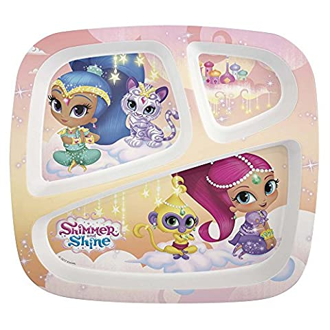 Zak Designs Nickelodeon Shimmer and Shine 3 Section Plate for Kids - BPA Free, Stain Resistant - Novelty Character Dinnerware - Item #139012